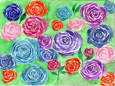 Watercolor Painting - Rose Garden by Tiima Studio