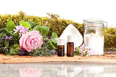 Rose Geranium Lavender Herb Species As Well As Coconut And Sugar Rose Print by Wolfgang Steiner