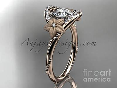 Leaf And Vine Engagement Ring Jewelry - rose gold diamond unique engagement ring wedding ring ADLR166 by AnjaysDesigns com