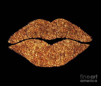 Sparkly Painting - Rose Gold Texture Kiss, Lipstick On Pouty Lips, Fashion Art by Tina Lavoie