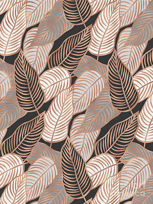 Mixed Media - Rose Gold Jungle Leaves by Emanuela Carratoni
