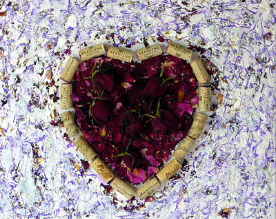 Painting - Rose Heart Cork Collage by Marlene Rose Besso