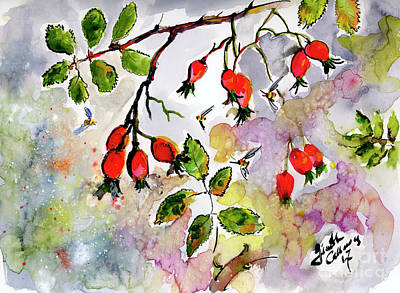 Painting - Rose Hips And Bees Watercolor And Ink by Ginette Callaway