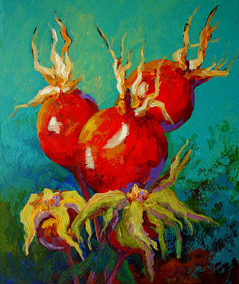 Rose Hips Art Print by Marion Rose