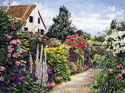 Painting - Rose House Garden Wall by David Lloyd Glover