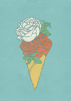 Rose Ice Cream Art Print by Evgenia Chuvardina