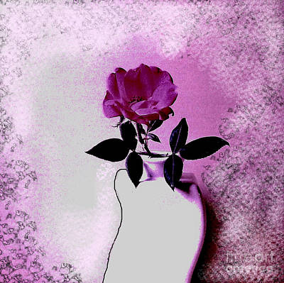 Knockout Digital Art - Rose In A Crooked Vase Ll by Marsha Heiken