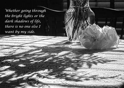 Photograph - Rose In Shadows Black And White by Joni Eskridge