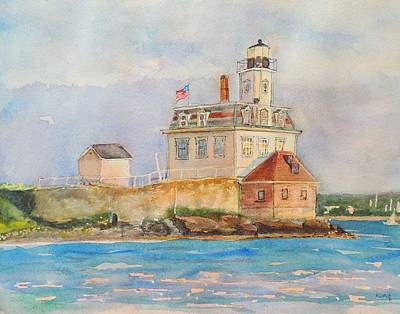 Historic Lighthouses Painting - Rose Island Lighthouse Newport Ri by Patty Kay Hall