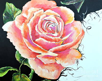 Painting - Rose by Jodie Marie Anne Richardson Traugott          aka jm-ART