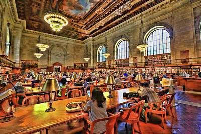 Photograph - Rose Main Reading Room - N Y Public Library by Allen Beatty