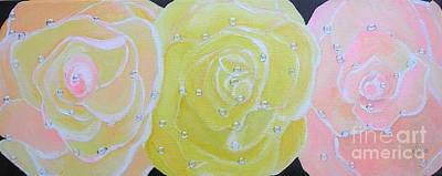 Painting - Rose Medley With Dewdrops by Karen Jane Jones
