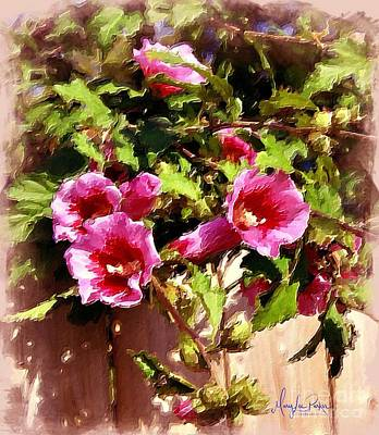 Painting - Rose Of Sharon Flowers by MaryLee Parker