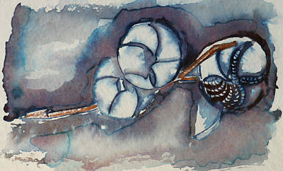 Rose Of Sharon Seed Pods Art Print by Diana Davenport