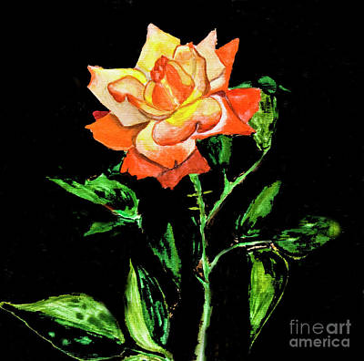 Painting - Rose On Black, Painting by Irina Afonskaya