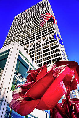 Photograph - Rose #2 Sculpture At Us Bank by Jeanette Fellows