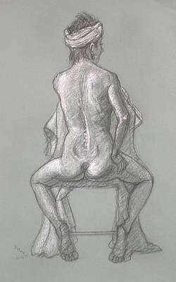 Drawing - Rose Seated From The Back by Donelli  DiMaria
