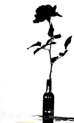 Black And White Rose Silhouette Art Print by Jean Clarke