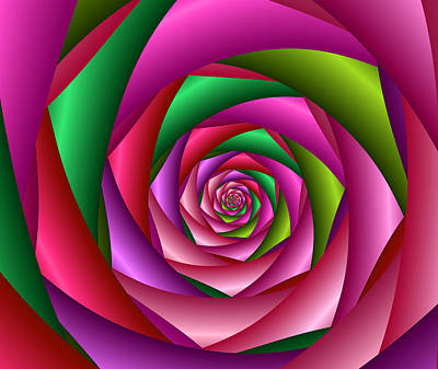 Digital Art - Rose Spiral by Ruth Moratz