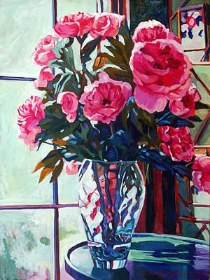 Glass Vase Painting - Rose Symphony by David Lloyd Glover