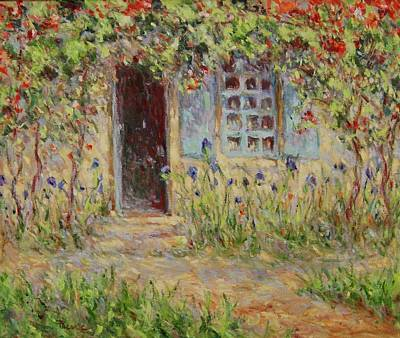 Rose Trees At The Front Of The House Art Print