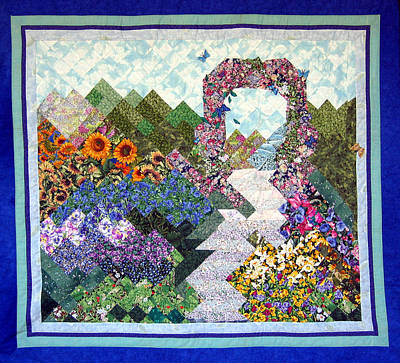 Tapestry - Textile - Rose Trellis Garden by Sarah Hornsby