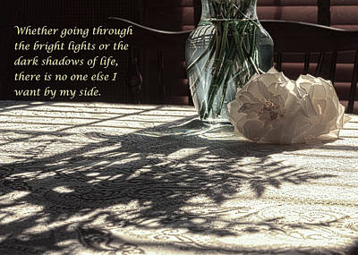 Photograph - Rose Vase In Shadows Expressions Of Love - Color by Joni Eskridge