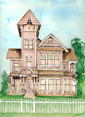 Haunted House Painting - Rose Victorian Inn - Arroyo Grande Ca 1886 by Arline Wagner