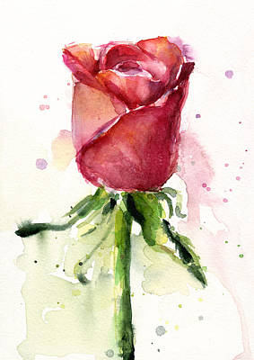 Red Flowers Painting - Rose Watercolor by Olga Shvartsur