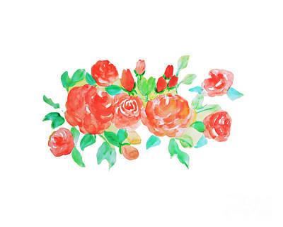 Garden Painting - Rose Watercolor by Rasirote Buakeeree