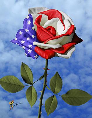 Rose White And Blue Art Print
