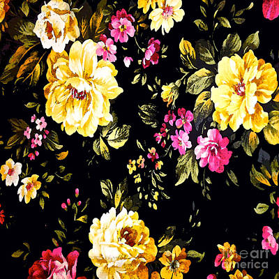 Painting - Rose White Vintage Pattern by Saundra Myles