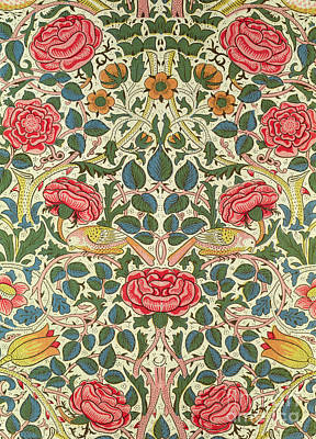 Repeat Painting - Rose by William Morris
