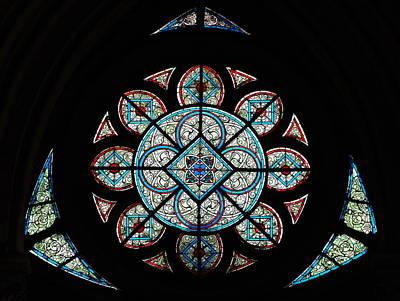 Glass Art - Rose Window Of Amiens Cathedral by Photographed by Alf van Beem