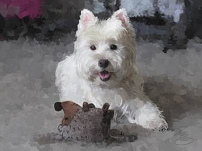 Terrier Digital Art - Rose With A New Toy by Debra Baldwin