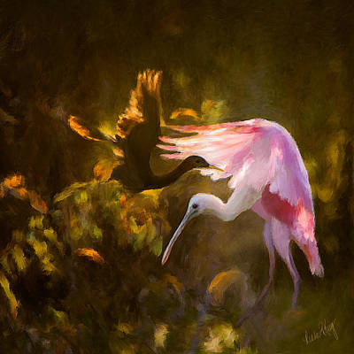 Spoonbill Digital Art - Roseate Spoonbill 0559 by Linda King