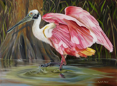 Waterfowl Painting - Roseate Spoonbill In A Cypress Swamp by Phyllis Beiser