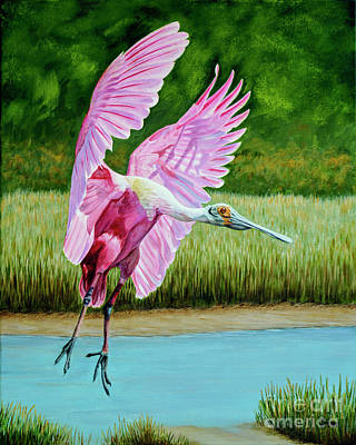 Painting - Roseate Spoonbill In The Marsh by Jimmie Bartlett
