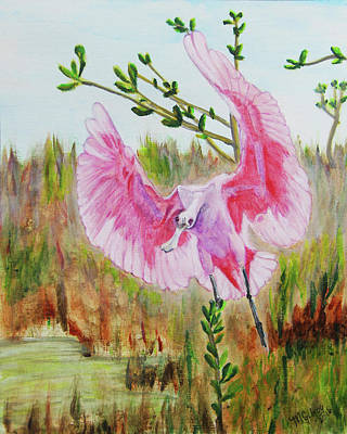 Spoonbill Painting - Roseate Spoonbill by M Gilroy