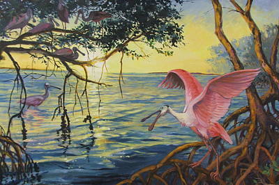 Roseate Spoonbills Among The Mangroves Art Print by Dianna  Willman
