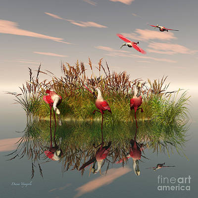 Spoonbill Digital Art - Roseate Spoonbills At The Marsh by Diana Voyajolu