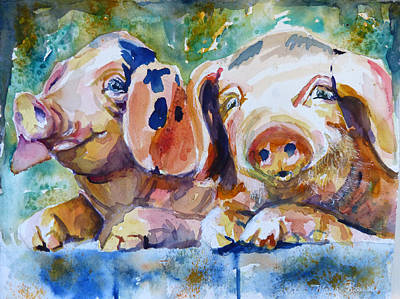 Piggies Painting - Rosebud And Tulip by P Maure Bausch