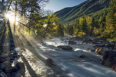 Sun Rays Photograph - Rosebud Creek Sunrise by Leland D Howard