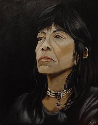 Painting - Rosebud Lakota Native American Woman by Bas Hollander