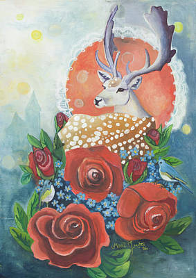 Deer Painting - Rosedeer by Mari Juuti