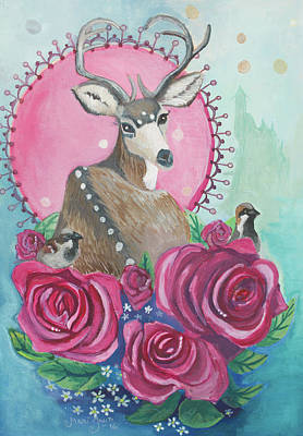 Deer Painting - Rosedeerii by Mari Juuti