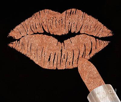 Rosegold Kiss Metallic Glitter Fashion Art Art Print
