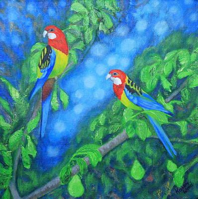 Pear Tree Painting - Rosellas In A Pear Tree by Karen Wood