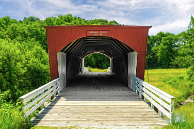 Photograph - Roseman Covered Bridge Madison County Iowa  -  Oil2 by Frank J Benz