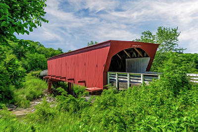 Photograph - Roseman Covered Bridge Madison County Iowa  -  Oil3 by Frank J Benz